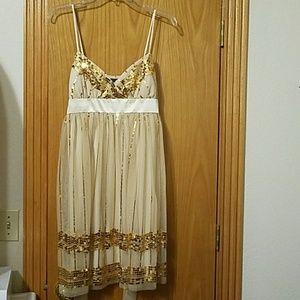 B. Darlin Beige/Gold Sequin Dress